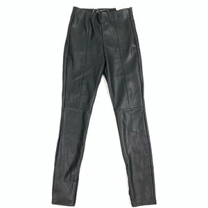 Zara Black faux leather high waist ankle zip pants